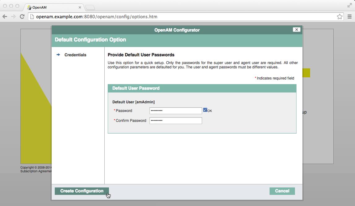 AM default configuration