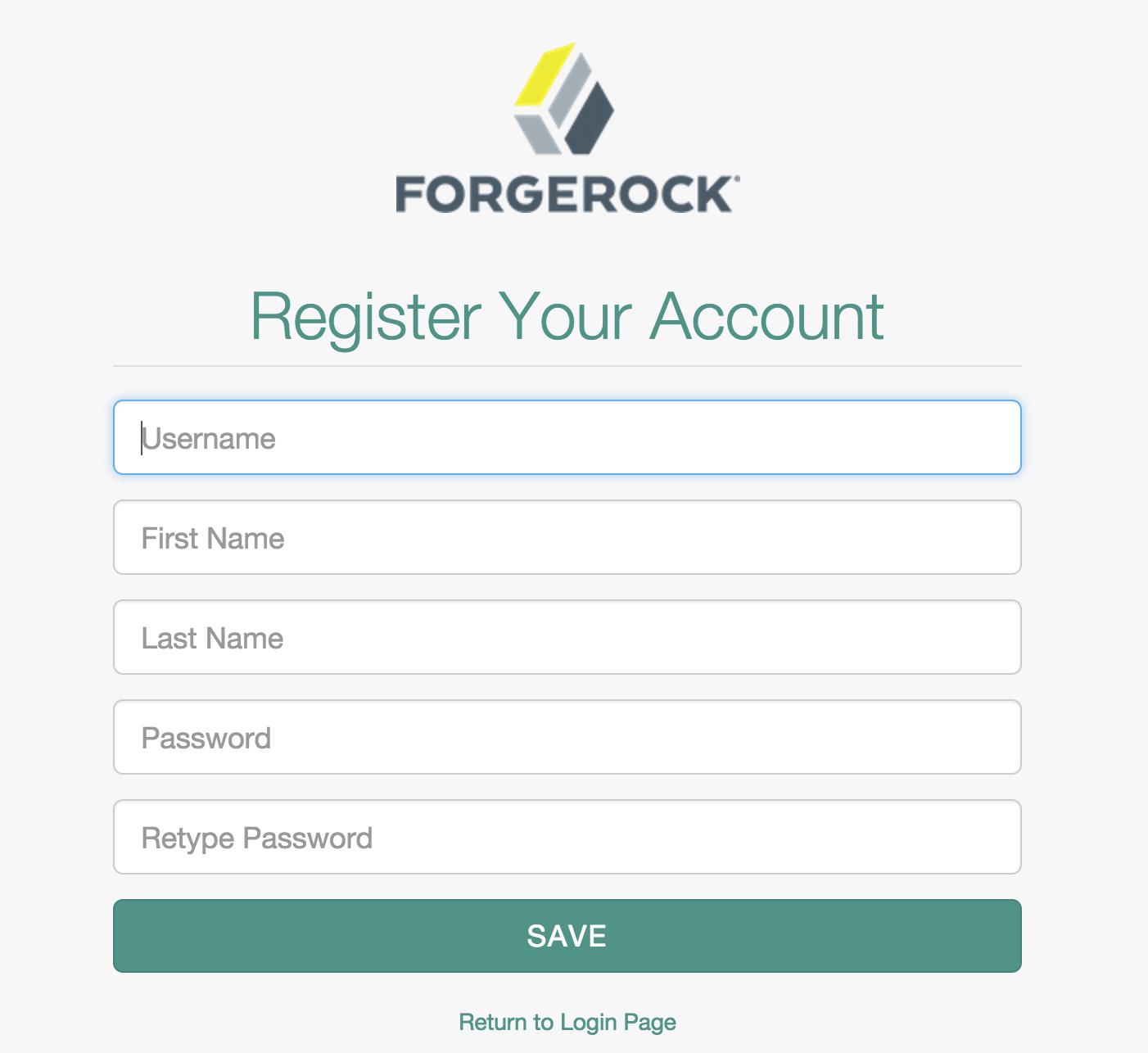 the openidm self registration screen