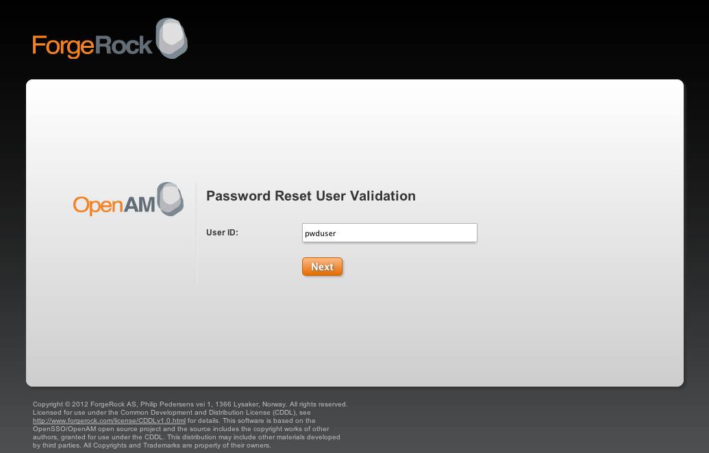 The OpenAM user validation page OpenAM 101