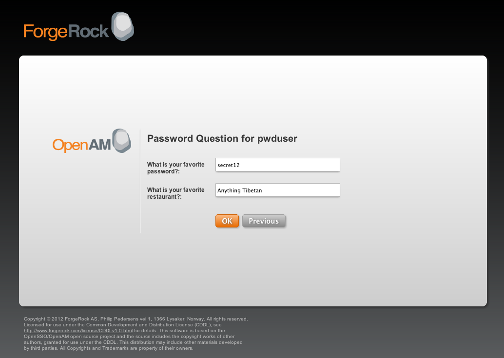The OpenAM user validation page OpenAM 10